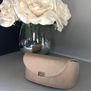 Beige Chloé sunglasses case with auth card + cloth